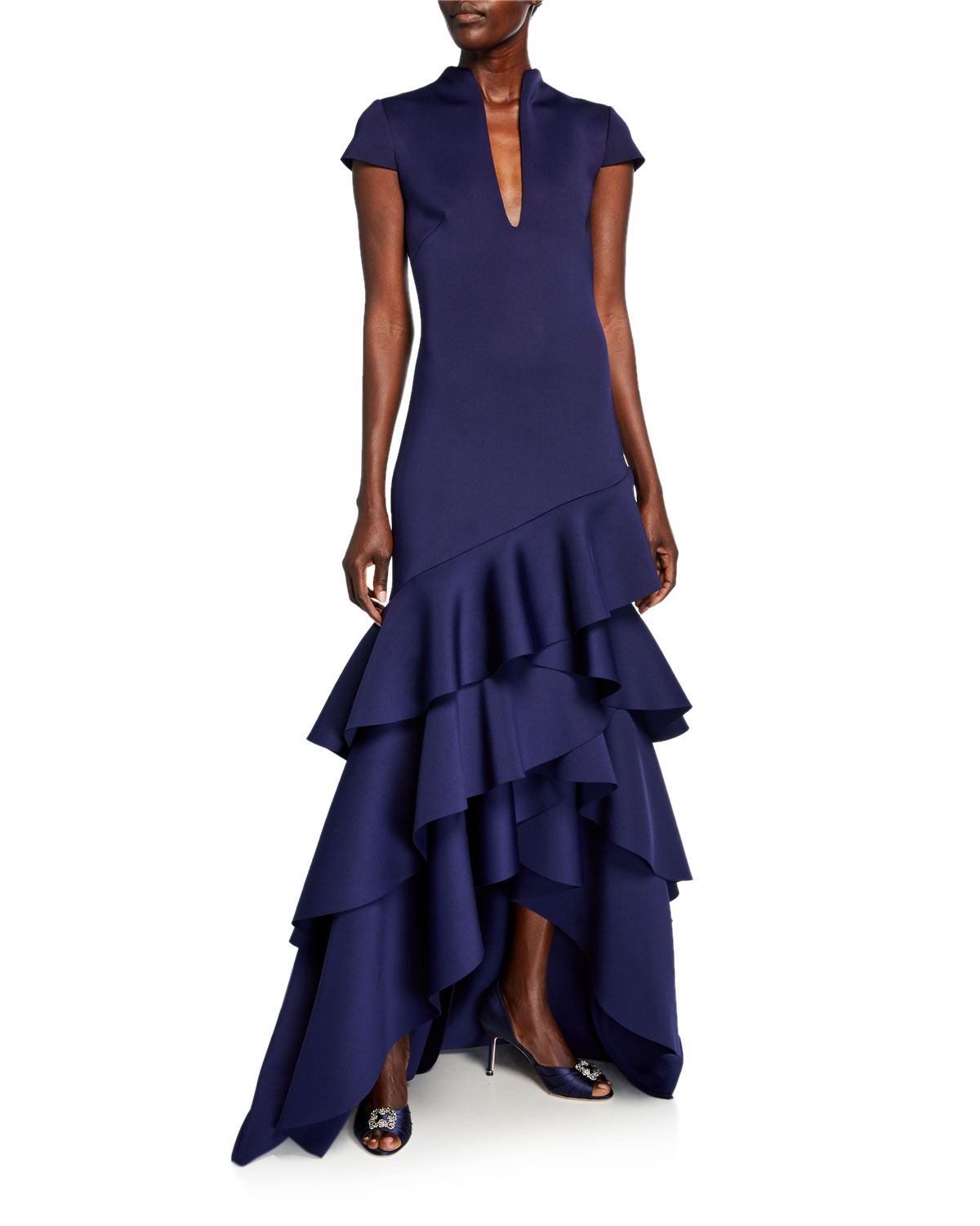 Funnel Neck Cap Sleeve High Low Ruffle Hem Scuba Gown by Badgley Mischka Collection