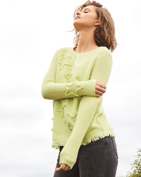 Image 2 of 3: Lisa Todd Petite Multi Fray Stars Sweater with Frayed Hem
