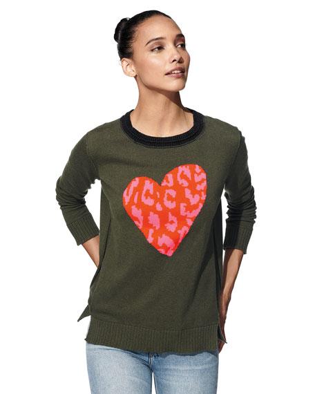 Lisa Todd Petite Animal-Print Heart Intarsia Sweater