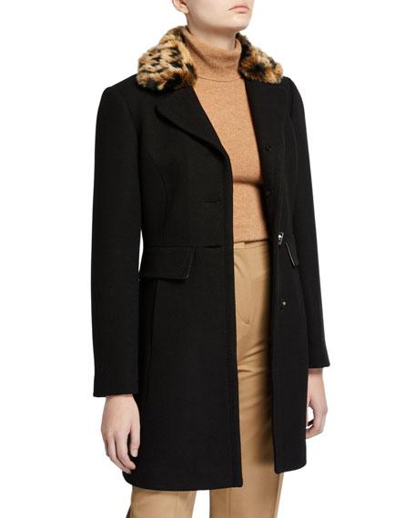 kate spade new york faux fur leopard-collar coat