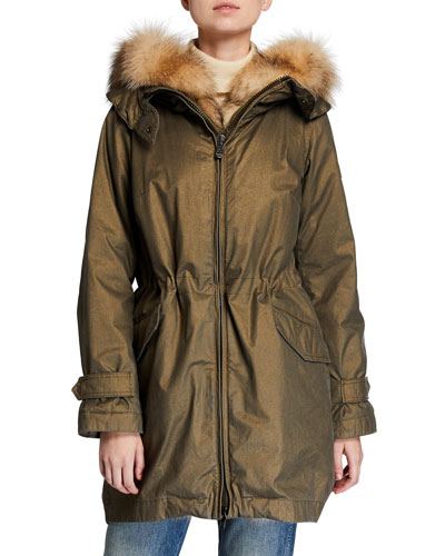 Uzumati Fox Fur-Trim Semi-Fit Coat