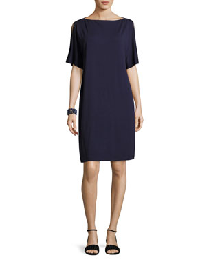 9450a768417 Eileen Fisher Plus Size Split-Sleeve Jersey Shift Dress