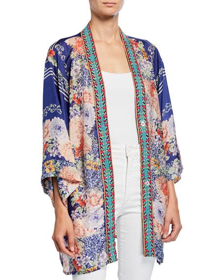 Johnny Was Blati Printed Silk Shorter Kimono with Embroidered Trim