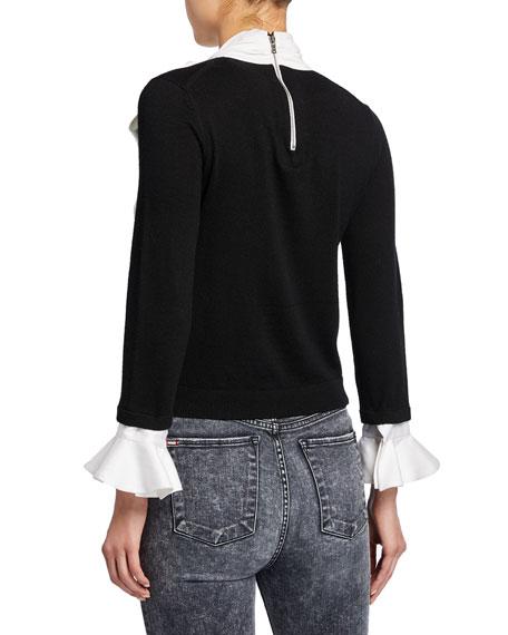 Alice + Olivia Justina Colorblock Tie-Neck Long-Sleeve Combo Sweater