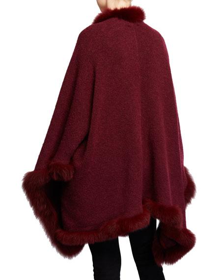 Alice + Olivia Kamala Oversized Poncho with Fur Trim