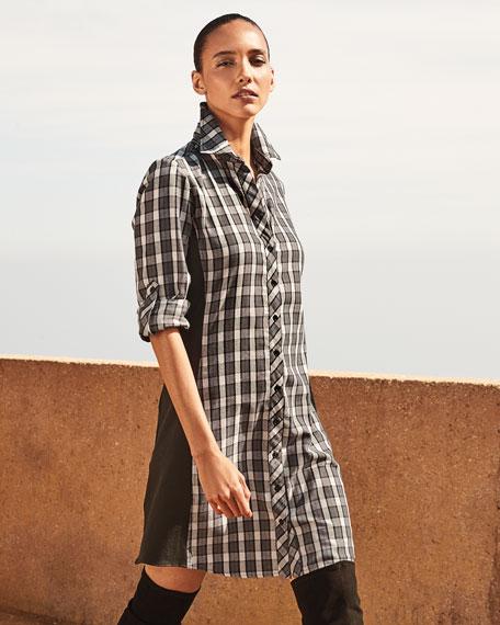 Finley Casey Check Combo Long-Sleeve Shirtdress
