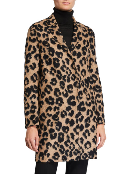 Harris Wharf London Jacquard Leopard Cocoon Coat
