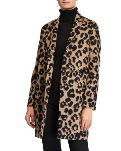 Jacquard Leopard Cocoon Coat