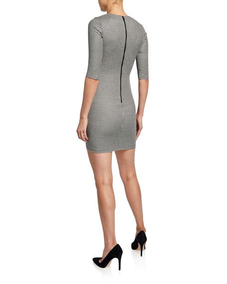 Alice + Olivia Delora Herringbone Crewneck 1/2-Sleeve Mini Dress