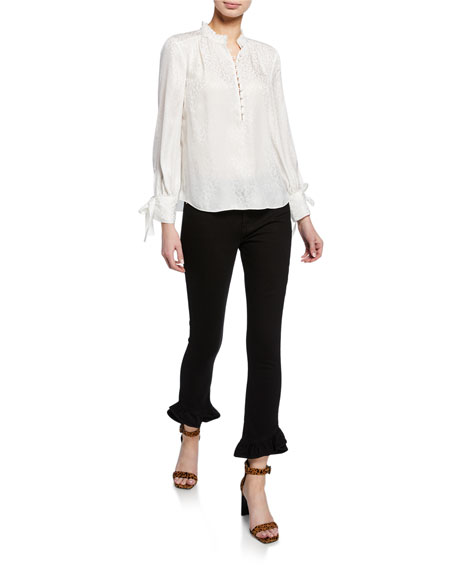 Jen7 by 7 for All Mankind High-Rise Ankle Skinny with Ruffle Hem