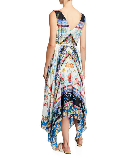 Johnny Was Cassia Floral V-Neck Sleeveless Tie-Waist Handkerchief Dress