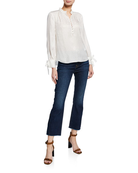 Jen7 by 7 for All Mankind Cropped High-Rise Boot-Cut Jeans with Vented Hem
