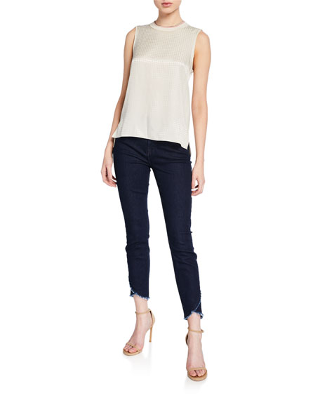 Jen7 by 7 for All Mankind High-Rise Ankle Skinny Jeans with Scalloped Hem