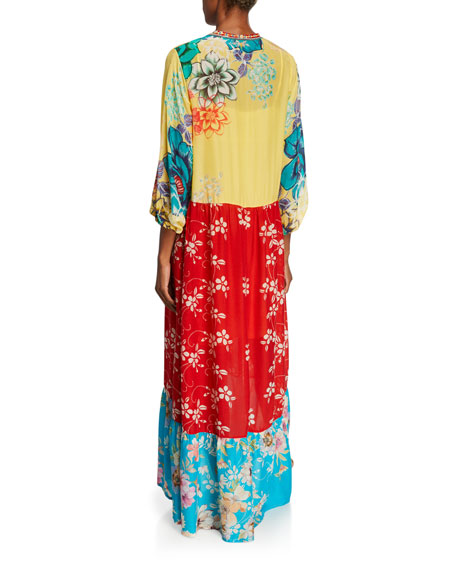 Johnny Was Seido Mixed-Media 3/4-Sleeve Long Georgette Dress