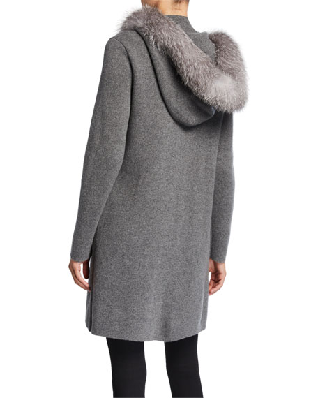 Sofia Cashmere Cashmere Fox Fur Hooded Twofer Coat
