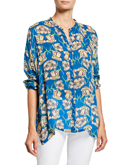 Johnny Was Plus Size Fleur Floral Button-Front Long-Sleeve Georgette Blouse