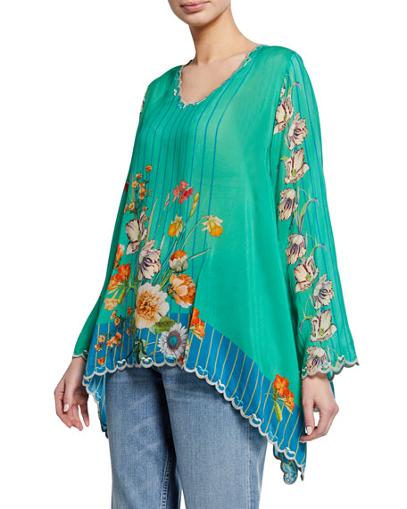 Johnny Was Plus Size Stella Floral-Print V-Neck Flare-Sleeve Georgette Blouse