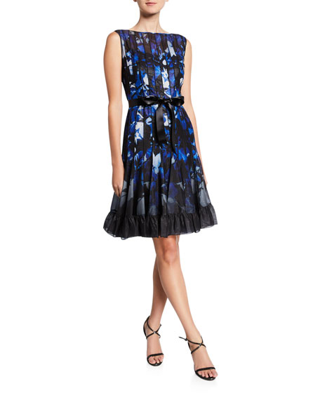 Rickie Freeman for Teri Jon Abstract Sleeveless Pintucked Cocktail Dress