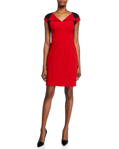 Shani Colorblock V-Neck Cap-Sleeve Crepe Dress with Flyaway Collar