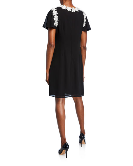 Image 2 of 2: Shani Short-Sleeve A-Line Georgette Dress with Floral Appliques