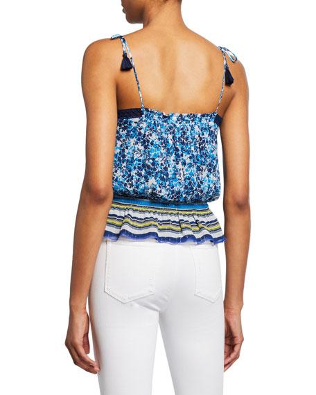 Ramy Brook Axel Printed Shoulder-Tie Silk Top