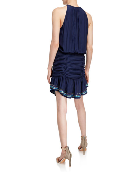 Ramy Brook Arya Embellished Ruched Short Dress