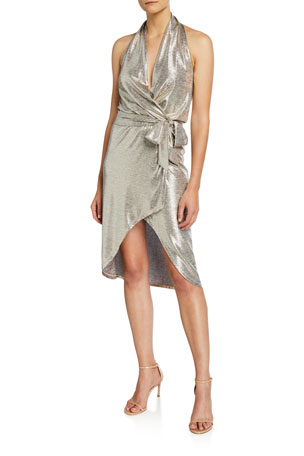 Ramy Brook Maura Metallic Halter Wrap Dress