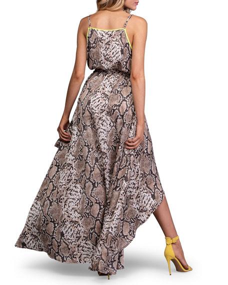 A La Plage Python-Print Sleeveless High-Low Wrap Dress