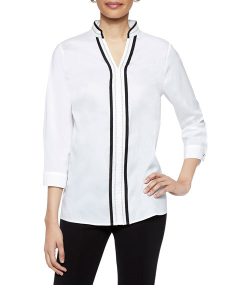 Misook Zip-Front 3/4-Sleeve Stretch Cotton Tunic