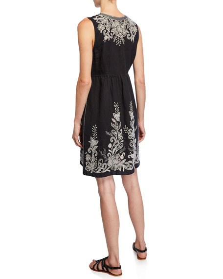 Johnny Was Jewel Embroidered Linen Tank Dress