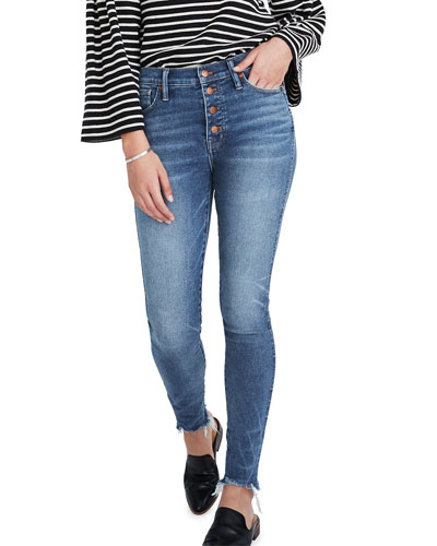 10 High-Rise Skinny Jeans with Button Front
