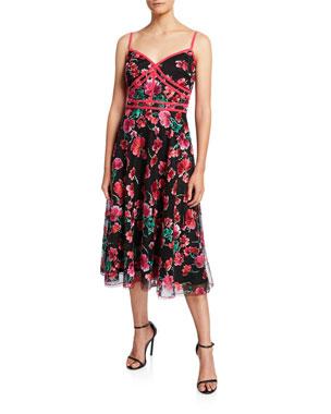55bb1c7a Tadashi Shoji Floral Embroidered Sweetheart Dress