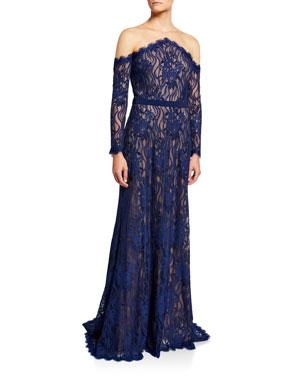 913798161270 Tadashi Shoji Long-Sleeve Lace Illusion Gown