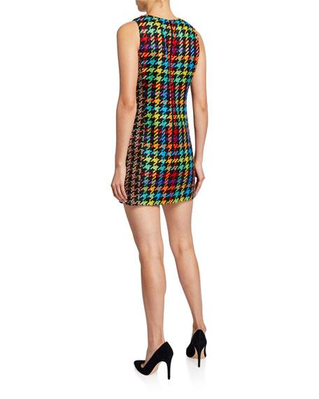Alice + Olivia Colin Houndstooth Crewneck Sleeveless Short Dress