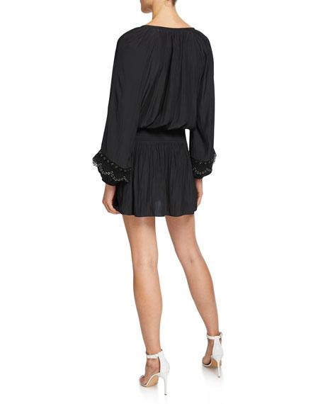 Ramy Brook Jake Long-Sleeve Short Dress with Grommets