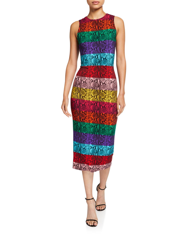 09b0ea9db Alice + Olivia Delora Fitted Sleeveless Crewneck Dress | Neiman Marcus