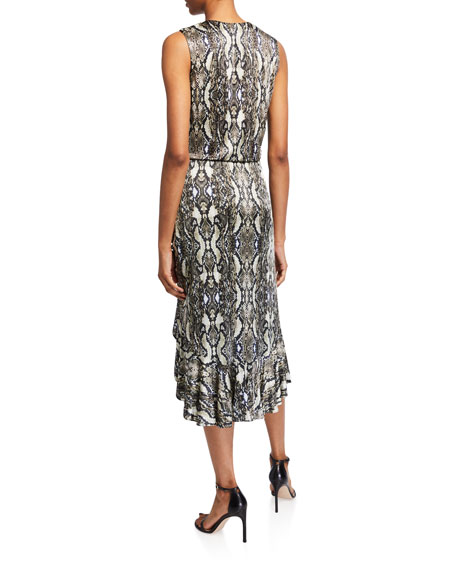 Image 2 of 2: Parker Briony Python-Print Ruched Ruffle Dress