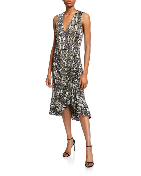 Image 1 of 2: Parker Briony Python-Print Ruched Ruffle Dress