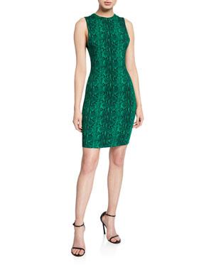 6b24917a2 Alice + Olivia Delora Snake-Print Sleeveless Crewneck Mini Dress