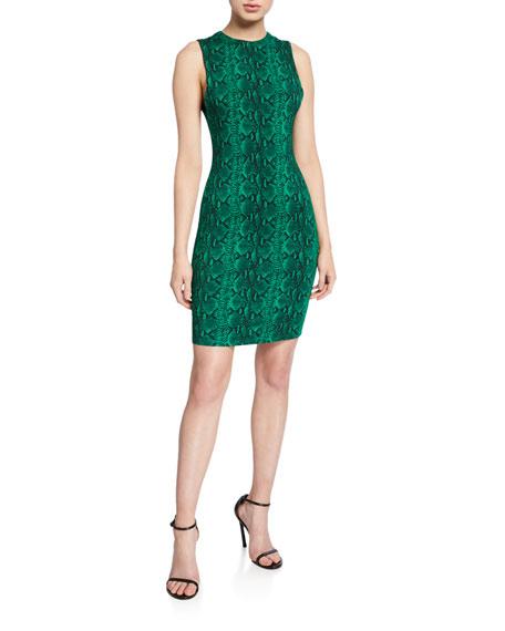 ab6c2d16a Image 1 of 2: Alice + Olivia Delora Snake-Print Sleeveless Crewneck Mini  Dress
