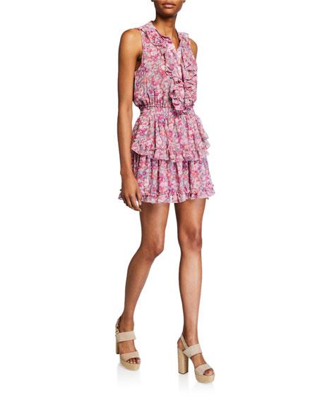 MISA Los Angeles Marnie Floral Sleeveless Mini Ruffle Dress