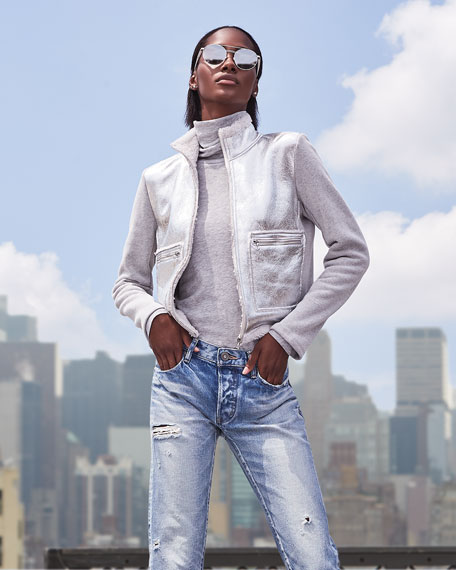 Majestic Filatures Metallic Shearling Zip-Front Jacket