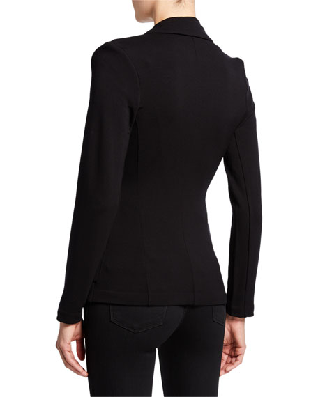 Majestic Filatures One-Button Fitted Long-Sleeve Blazer