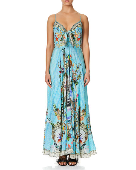 Camilla Tie-Front Sleeveless Printed Long Dress