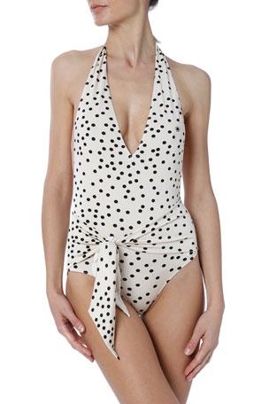 Stella McCartney Polka Dot Tie-Waist Halter One-Piece Swimsuit