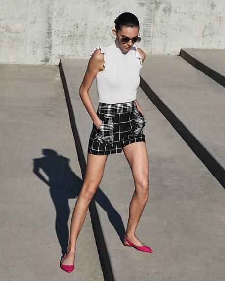 Alice + Olivia Donald High-Waist Patch Pocket Shorts