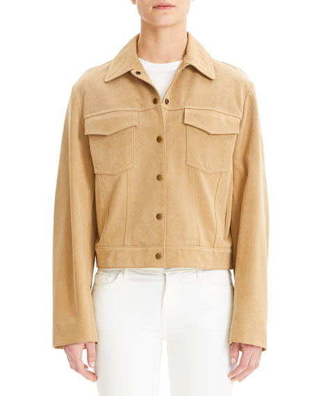 Theory Button-Front Suede Trucker Jacket