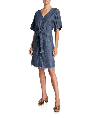 Lanai Button-Front Short-Sleeve Belted Denim Dress