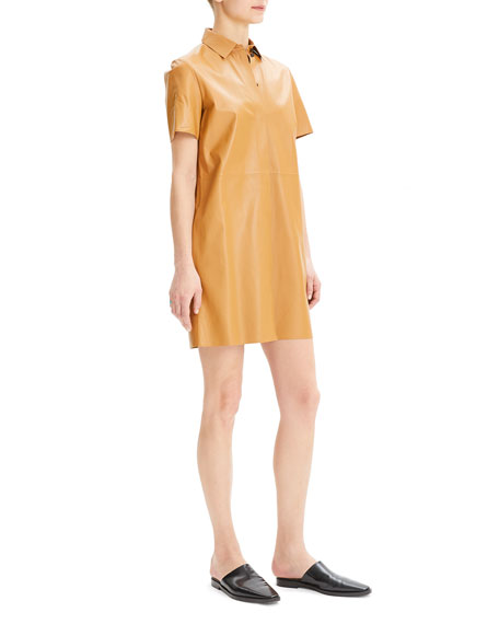 Theory Button-Down Short-Sleeve Mini Leather Shirtdress