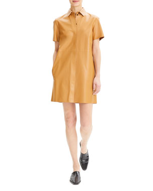 d70e139ff56 Theory Button-Down Short-Sleeve Mini Leather Shirtdress